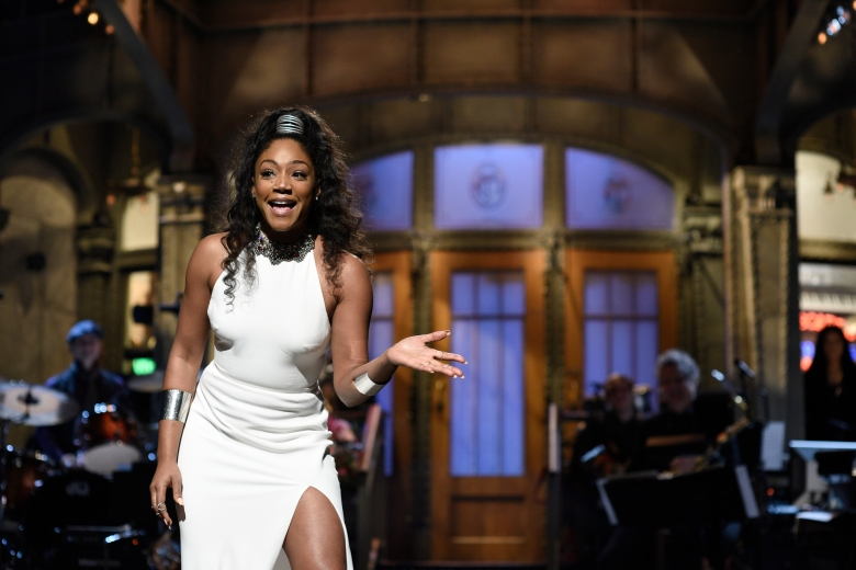 SATURDAY NIGHT LIVE -- Episode 1730 -- Pictured: Host Tiffany Haddish during the Opening Monologue in Studio 8H on Saturday, November 11, 2017 -- (Photo by: Will Heath/NBC)