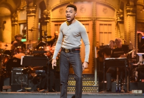 "SATURDAY NIGHT LIVE -- Episode 1731 -- Pictured: (l-r) Chance The Rapper during ""Opening Monologue"" in Studio 8H on Saturday, November 18, 2017 -- (Photo by: Will Heath/NBC)"