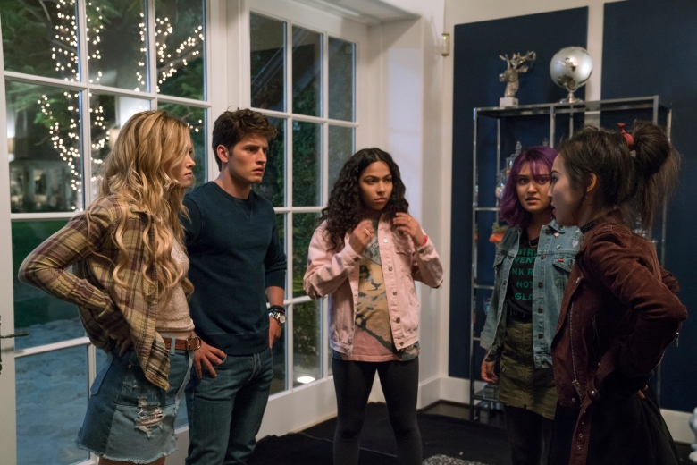 """MARVEL'S RUNAWAYS - """"Rewind"""" - Episode 102 - A retelling of 101, as seen from the parentsÕ perspective. EveryoneÕs on edge, but after tonight, should all go as planned, they wonÕt have to worry about their obligations again. Karolina Dean (Virginia Gardner), from left, Chase Stein (Gregg Sulkin), Molly Hernandez (Allegra Acosta), Gert Yorkes (Ariela Barer) and Nico Minoru (Lyrica Okano), shown.  (Photo by: Greg Lewis/Hulu)"""