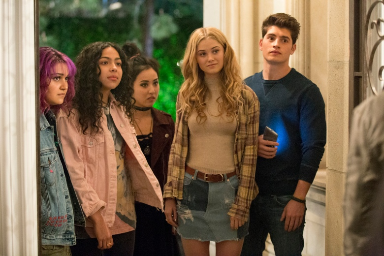 "RUNAWAYS - ""Reunion"" - Episode 101 - A group of six Los Angeles teens, fractured by a tragic loss, reunite only to discover that their parents may be hiding a terrible secret that turns their world upside down. Gert Yorkes (Ariela Barer), from left, Molly Hernandez (Allegra Acosta), Nico Minoru (Lyrica Okano), Karolina Dean (Virginia Gardner) and Chase Stein (Gregg Sulkin), shown. (Photo by: Paul Sarkis/Hulu)"