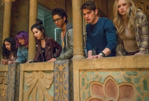 "RUNAWAYS - ""Pilot"" - Episode 101 - Every teenager thinks their parents are evil. What if you found out they actually were?  MarvelÕs Runaways is the story of six diverse teenagers who can barely stand each other but who must unite against a common foe Ð their parents. The 10-episode series premieres Tuesday, November 21st. The series stars Rhenzy Feliz, Lyrica Okano, Virginia Gardner, Ariela Barer, Gregg Sulkin, Allegra Acosta, Annie Wersching, Ryan Sands, Angel Parker, Ever Carradine, James Marsters, Kevin Weisman, Brigid Brannah, James Yaegashi, Brittany Ishibashi, and Kip Pardue. From left: Molly Hernandez (Allegra Acosta), Gert Yorkes (Ariela Barer), Nico Minoru (Lyrica Okano), Alex Wilder (Rhenzy Feliz), Chase Stein (Gregg Sulkin) and Karolina Dean (Virginia Gardner), shown. (Photo by: Paul Sarkis/Hulu)"
