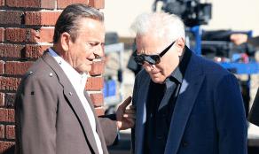 """Joe Pesci and Martin Scorsese on the set of """"The Irishman"""""""