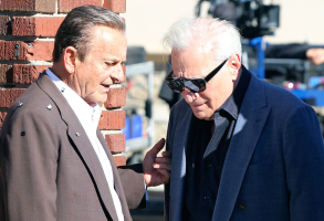 "Joe Pesci and Martin Scorsese on the set of ""The Irishman"""