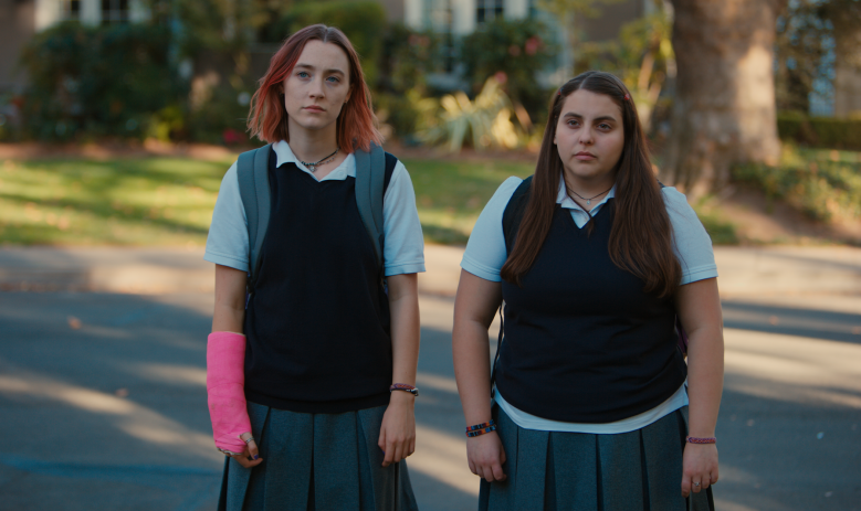 "Beanie Feldstein and Saoirse Ronan in ""Lady Bird."""