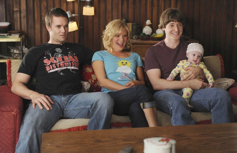 No Merchandising. Editorial Use Only. No Book Cover Usage. Mandatory Credit: Photo by Ray Mickshaw/20th Century Fox TV/Kobal/REX/Shutterstock (5886028bj) Garret Dillahunt, Martha Plimpton, Lucas Neff, Trace Garcia Raising Hope - 2010 20th Century Fox TV USA Television