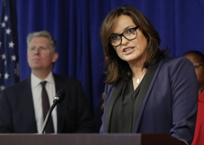 """Actress Mariska Hargitay, right, star of """"Law & Order: Special Victims Unit,"""" talks about the thousands of rape kits nationwide that are still awaiting DNA testing during a news conference, in New York. Manhattan District Attorney Cyrus R. Vance Jr., left, announced that he pledged as much as $35 million to help eliminate a backlog in testing that has long troubled authorities, victims and lawmakersRape Kit Backlog, New York, USA"""