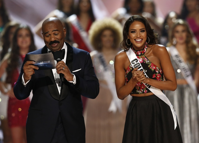 Andrea Tovar and Steve Harvey 65th Miss Universe pageant coronation, Manila, Philippines - 30 Jan 2017 Candidate Andrea Tovar (R) from Colombia and host Steve Harvey (L) react on stage during the 65th Miss Universe pageant coronation ceremony at the Mall of Asia Arena in Pasay City, south of Manila, Philippines, 30 January 2017. A total of 86 candidates competed for the crown.