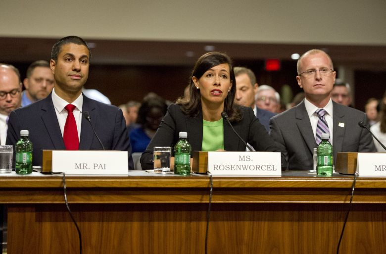 The United States Senate Committee on Commerce, Science, and Transportation conducts hearings to examine the nominations of Ajit Varadaraj Pai, left, Jessica Rosenworcel, center, and Brendan Carr, right, each to be a Member of the Federal Communications Commission on Capitol Hill in Washington, DC.FCC Confirmation Hearing, Washington DC, USA - 19 Jul 2017