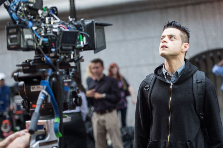 Rami Malek 'Mr Robot' on set filming, New York, USA - 16 Aug 2017
