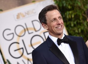 Seth Meyers, left, and Alexi Ashe arrive at the 72nd annual Golden Globe Awards at the Beverly Hilton Hotel, in Beverly Hills, Calif72nd Annual Golden Globe Awards - Arrivals, Beverly Hills, USA