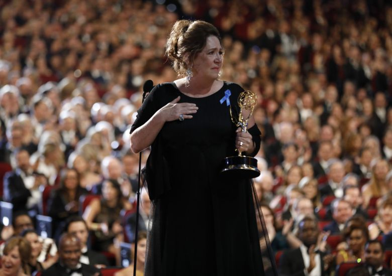 "Ann Dowd accepts the award for outstanding supporting actress in a drama series for ""The Handmaid's Tale"" on the red carpet stage at the 69th Primetime Emmy Awards, at the Microsoft Theater in Los Angeles69th Primetime Emmy Awards - Red Carpet Stage, Los Angeles, USA - 17 Sep 2017"