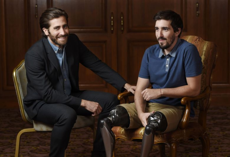 "Jake Gyllenhaal, Jeff Bauman. Jake Gyllenhaal, left, poses for portrait with Boston Marathon bombing survivor Jeff Bauman during the Toronto International Film Festival in Toronto. Gyllenhaal portrays Bauman in the film ""Stronger2017 TIFF - ""Stronger"" Portrait Session, Toronto, Canada - 10 Sep 2017"