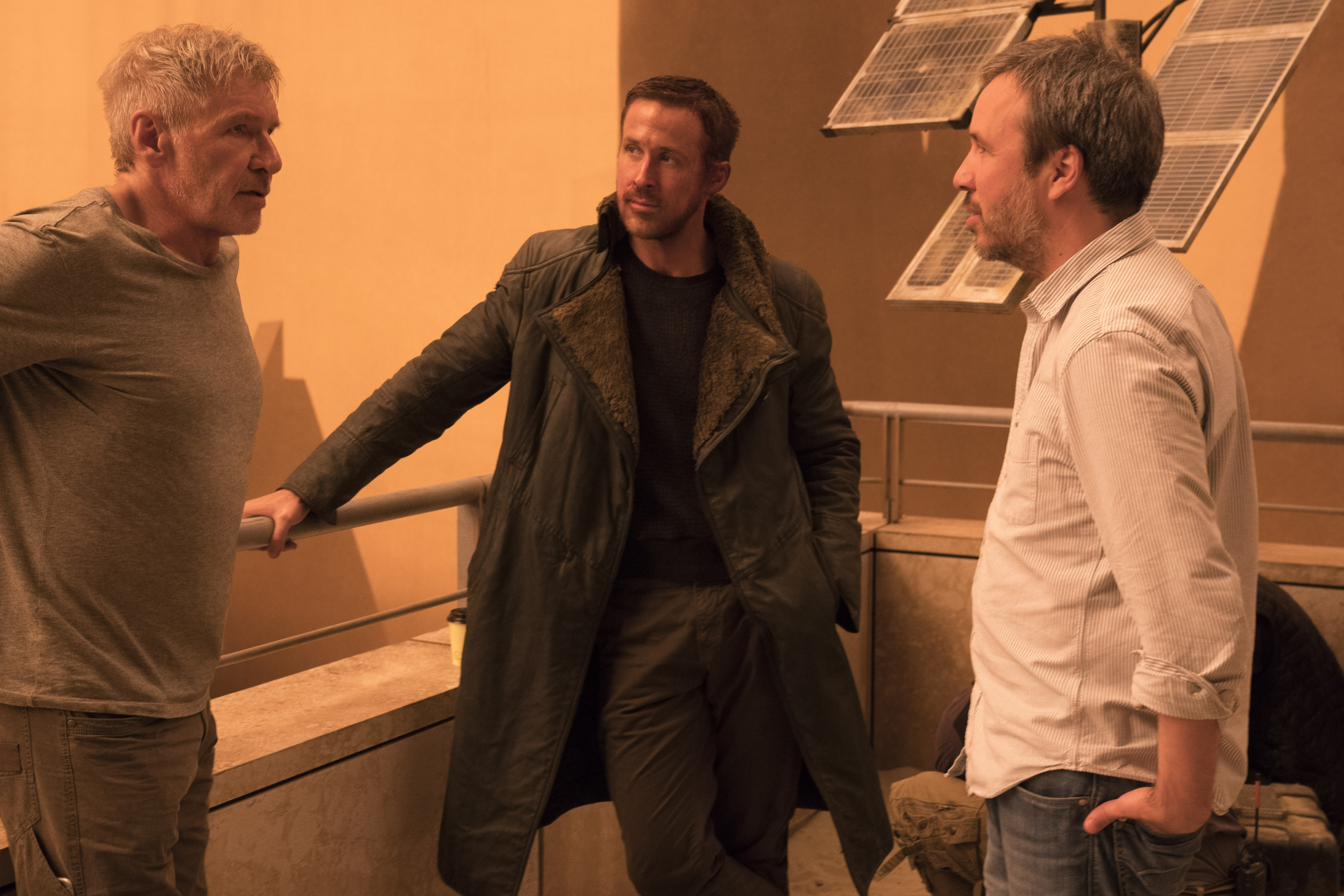 "No Merchandising. Editorial Use Only. No Book Cover UsageMandatory Credit: Photo by SVaughan/Columbia Pictures/Kobal/REX/Shutterstock (9096411ah)Harrison Ford, Ryan Gosling, Denis Villeneuve""Blade Runner 2049"" Film - 2017"