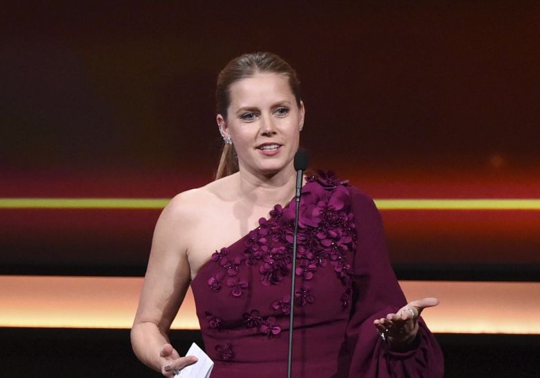 Amy Adams, Michael Shannon. Honoree Amy Adams speaks as presenter Michael Shannon looks on at the 31st annual American Cinematheque Award at the Beverly Hilton Hotel, in Beverly Hills, Calif2017 American Cinematheque Award - Inside, Beverly Hills, USA - 10 Nov 2017