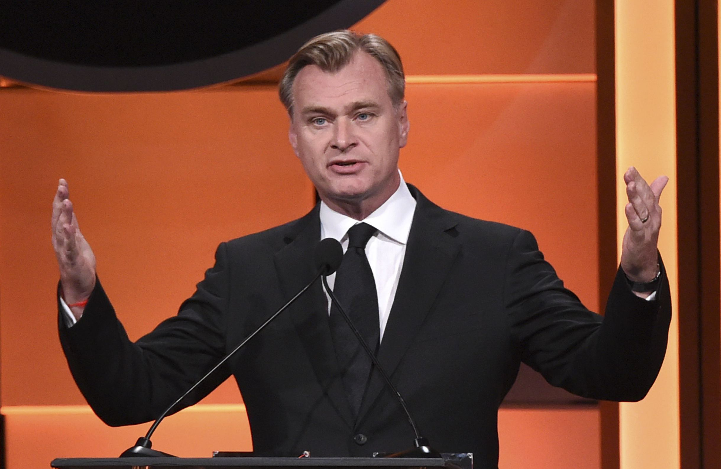 Christopher Nolan speaks at the 31st annual American Cinematheque Award at the Beverly Hilton Hotel, in Beverly Hills, Calif2017 American Cinematheque Award - Inside, Beverly Hills, USA - 10 Nov 2017