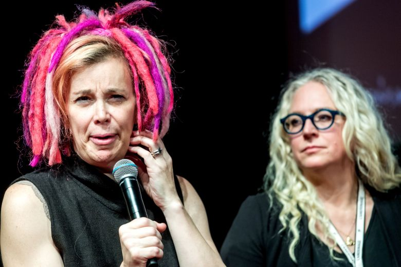 POLAND OUTMandatory Credit: Photo by TYTUS ZMIJEWSKI/EPA-EFE/REX/Shutterstock (9225866j)Lana Wachowski and Lilly Wachowski25th Camerimage International Film Festival 2017 in Bydgoszcz, Poland - 16 Nov 2017US film directors Lana Wachowski (L) and Lilly Wachowski (R) attend a meeting with fans of the American science fiction drama series 'Sense8' during the 25th Camerimage International Film Festival 2017 in Bydgoszcz, Poland, 16 November 2017.