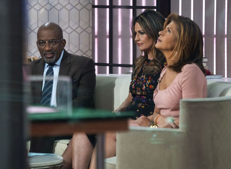 "Co-anchors Al Roker, from left, Savannah Guthrie and Hoda Kotb sit on the set of the of the ""Today"" show, in New York, after NBC News fired host Matt Lauer. NBC News announced Wednesday, Nov. 29, 2017, that Lauer was fired for ""inappropriate sexual behaviorSexual Misconduct Lauer, New York, USA - 29 Nov 2017"