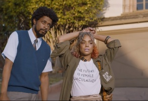 Lakeith Stanfield and Tessa Thompson appear in Sorry to Bother You by Boots Riley, an official selection of the U.S. Dramatic Competition at the 2018 Sundance Film Festival. Courtesy of Sundance Institute | photo by Doug Emmett.  All photos are copyrighted and may be used by press only for the purpose of news or editorial coverage of Sundance Institute programs. Photos must be accompanied by a credit to the photographer and/or 'Courtesy of Sundance Institute.' Unauthorized use, alteration, reproduction or sale of logos and/or photos is strictly prohibited.