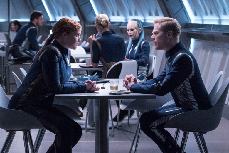 """Si Vis Pacem, Para Bellum"" -- Episode 108 -- Pictured (l-r): Mary Wiseman as Cadet Sylvia Tilly; Anthony Rapp asLieutenant Paul Stamets of the CBS All Access series STAR TREK: DISCOVERY."