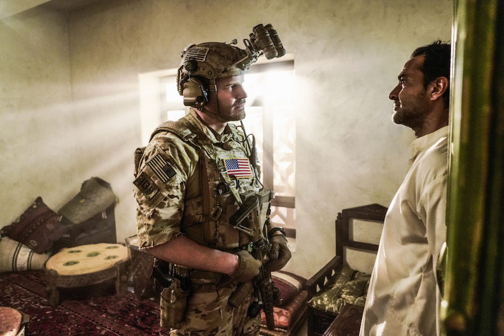 """Pattern of Life"" -- Tensions are high when Jason and the SEAL Team enter a Yemeni house to locate a cell phone linked to a terrorist network, and interrogate the family while the daughter lays in critical condition after being accidentally shot, on SEAL TEAM, Wednesday, Jan. 3 (9:00-10:00 PM, ET/PT) on the CBS Television Network. The episode takes place in real time. Pictured left to right: David Boreanaz as Jason Hayes and Federico Dordei as Haddad. Photo: Erik Voake/CBS©2017 CBS Broadcasting, Inc. All Rights Reserved"