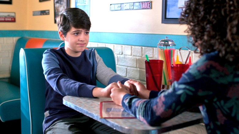 "ANDI MACK - ""Hey, Who Wants Pizza?"" - In the season two premiere, Andi encourages Bowie to plan a future with Bex; Cyrus introduces his girlfriend, Iris, to Andi and Buffy; and Jonah invites Andi to the Space Otters' party. This episode of ""Andi Mack"" airs Friday, October 27 (8:00 P.M.) on Disney Channel. (Disney Channel)JOSHUA RUSH"