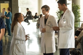 "Antonia Thomas, Freddie Highmore, and Chuku Modu, ""The Good Doctor"""