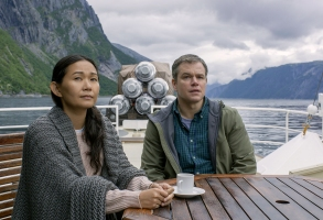 Hong Chau plays Ngoc Lan Tran and Matt Damon plays Paul Safranek in Downsizing from Paramount Pictures.