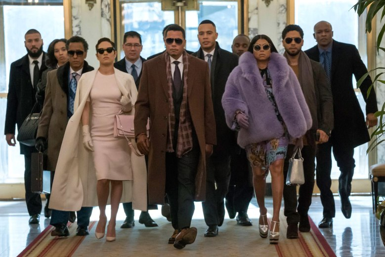 "EMPIRE: Pictured Front row L-R: Guest star Andre Royo, Grace Byers, Terrence Howard, Trai Byers, Taraji P. Henson and Jussie Smollett in the ""Absent Child"" episode of EMPIRE airing Wednesday, May 10 (9:00-10:00 PM ET/PT) on FOX. ©2017 Fox Broadcasting Co. CR: Chuck Hodes/FOX"