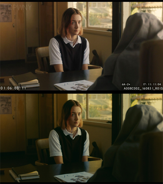 Lady Bird, Before/After Color Correction