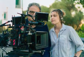 "Sam Levy and Greta Gerwig on the set of ""Lady Bird"""