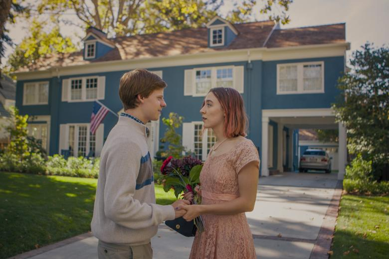 "Lucas Hedge and Saoirse Ronan in ""Lady Bird"""