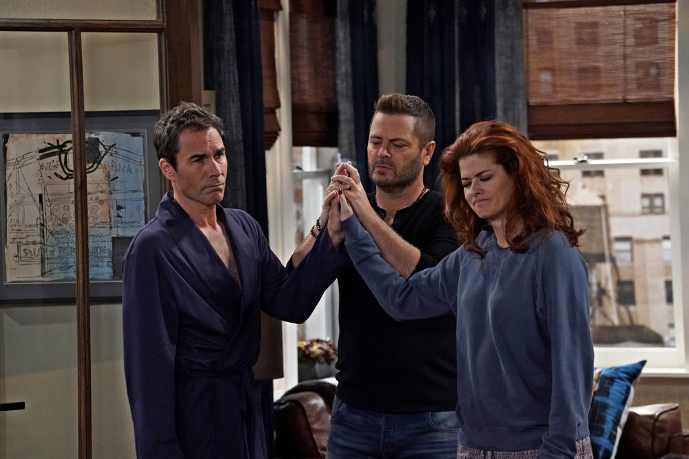 "WILL & GRACE -- ""Friends & Lover"" Episode 104 -- Pictured: (l-r) Eric McCormack as Will Truman, Nick Offerman as Jackson Boudreaux, Debra Messing as Grace Adler -- (Photo by: Chris Haston/NBC)"