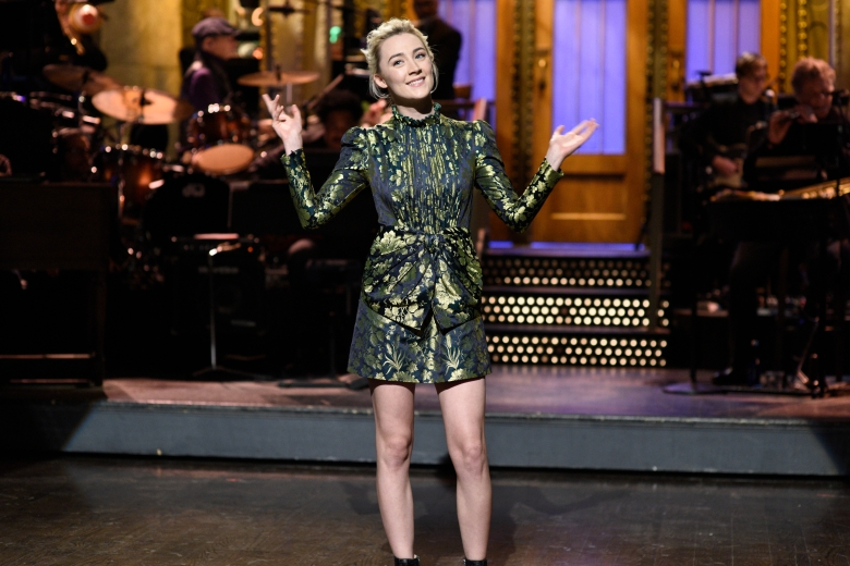 SATURDAY NIGHT LIVE -- Episode 1732 -- Pictured: (l-r) Saoirse Ronan during the Opening Monologue in Studio 8H on Saturday, December 2, 2017 -- (Photo by: Will Heath/NBC)
