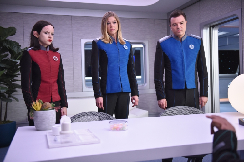 "THE ORVILLE: L-R: Halston Sage, Adrianne Palicki and Seth MacFarlane in the ""Firestorm"" episode of THE ORVILLE airing Thursday, Nov. 16 (9:01-10:00 PM ET/PT) on FOX. ©2017 Fox Broadcasting Co. Cr: Michael Becker/FOX"