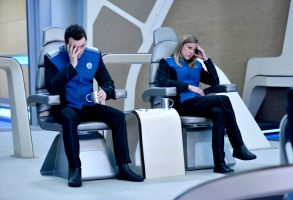 "THE ORVILLE: L-R: Seth MacFarlane and Adrianne Palicki in the season finale ""Identity"" episode of THE ORVILLE airing Thursday, Dec. 7 (9:01-10:00 PM ET/PT) on FOX.  ©2017 Fox Broadcasting Co.  Cr:  Michael Becker/FOX"