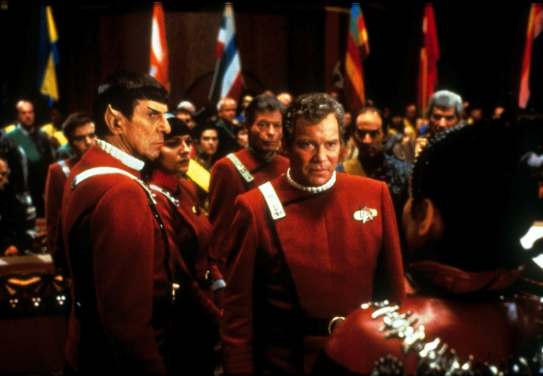 No Merchandising. Editorial Use Only. No Book Cover Usage. Mandatory Credit: Photo by Paramount/Kobal/REX/Shutterstock (5884282s) Leonard Nimoy, William Shatner Star Trek Vi - The Undiscovered Country - 1991 Director: Nicholas Meyer Paramount USA Scene Still Scifi Star Trek VI - TerreiInconnue