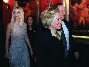 "CLINTON PALTROW WEINSTEIN First lady Hillary Rodham Clinton walks with Miramax Co-Chairman Harvey Weinstein and is followed by actress Gwyneth Paltrow into the premier of her new movie ""Shakespeare in Love,"" in New YorkMRS CLINTON NY, NEW YORK, USA"