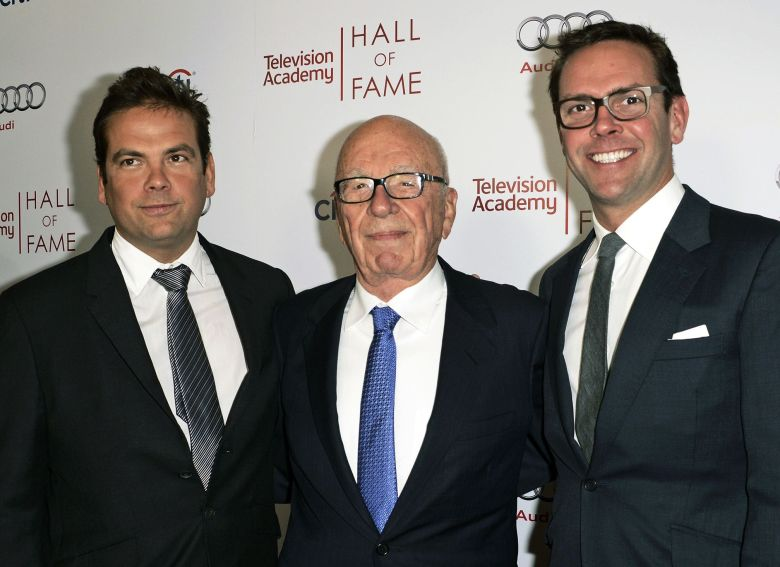 News Corp. Exeuctive Chairman Rupert Murdoch, center, and his sons, Lachlan, left, and James Murdoch attend the 2014 Television Academy Hall of Fame in Beverly Hills, Calif. Roger Ailes' successor at Fox News faces a delicate task in changing the culture of a news organization forever identified with one man, and push it forward for a new generation without alienating an audience that has made it a tremendously lucrative business. Ailes, who Rupert Murdoch hired to invent Fox News two decades ago, resigned under pressure, amid accusations of sexual harassmentFox Ailes Successor, Beverly Hills, USA