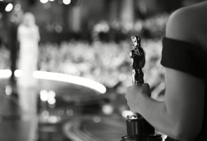 One of the best picture Oscar statuettes appears off stage as Warren Beatty and Faye Dunaway announce the best picture winner at the Oscars, at the Dolby Theatre in Los Angeles 89th Academy Awards - Insider Black and White Edit, Los Angeles, USA - 26 Feb 2017