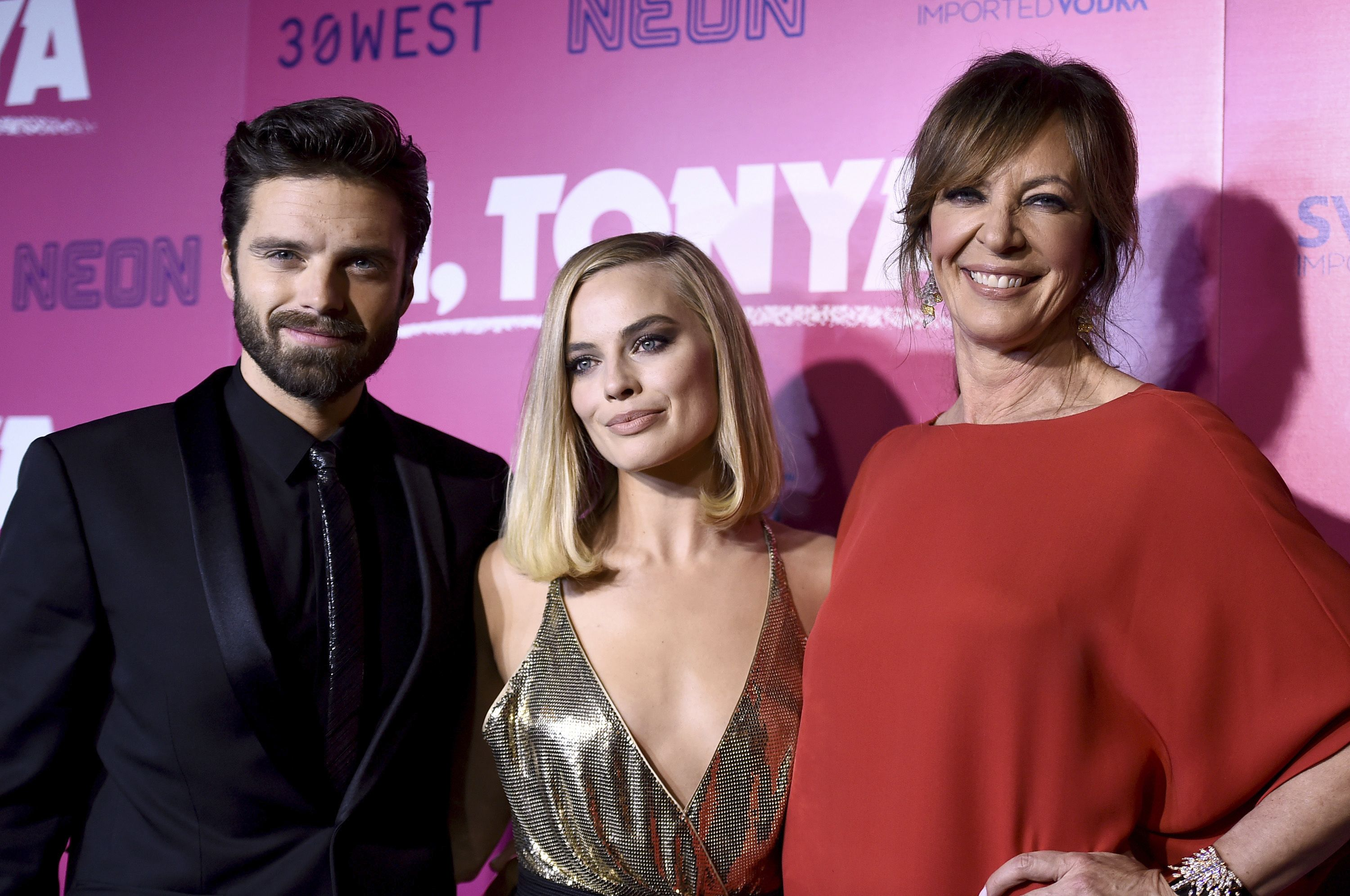 "Sebastian Stan, Margot Robbie, Allison Janney. Sebastian Stan, from left, Margot Robbie and Allison Janney arrive at the Los Angeles premiere of ""I, Tonya"" at the Egyptian Theatre onLA Premiere of ""I, Tonya"", Los Angeles, USA - 05 Dec 2017"