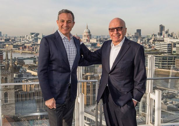 HANDOUT EDITORIAL USE ONLY/NO SALESMandatory Credit: Photo by THE WALT DISNEY COMPANY HANDOUT/EPA-EFE/REX/Shutterstock (9292355a)Bob Iger and Rupert MurdochWalt Disney Co. to buy 21st Century Fox, --, --- - 14 Dec 2017A undated handout photo made available by Walt Disney Co. showing Walt Disney chief executive Bob Iger (L) and Fox owner Rupert Murdoch at an undisclosed location. Walt Disney Co. announced 14 December 2017 it will purchase 21st Century Fox's businesses containing Sky Television of which Fox owns 39 per cent and entertainment activities of 20th Century Fox film studios in a deal valued at 52.4 billion USD in stock, and the total transaction being valued at some 66.1 billion USD. A new company will be set-up consisting of remaining assets of Fox that include Fox News and Sports. Disney says it will also assume some 13.7 billion USD of net debt of 21st Century Fox.