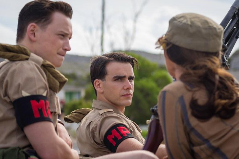 Picture shows: Captain Joe Martin (JEREMY NEUMARK JONES), Lance Corporal Paul Stoneham (LOUIS GREATOREX) and Martha Franklin (ESSIE DAVIS)
