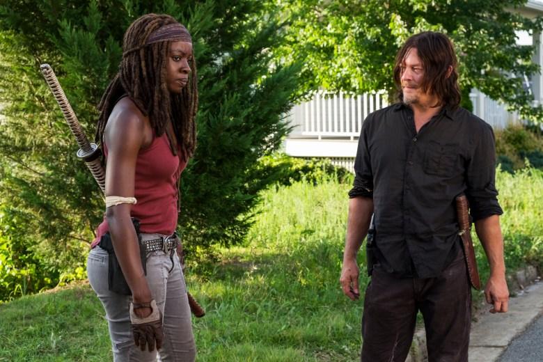 Danai Gurira as Michonne, Norman Reedus as Daryl Dixon - The Walking Dead _ Season 8, Episode 8 - Photo Credit: Gene Page/AMC