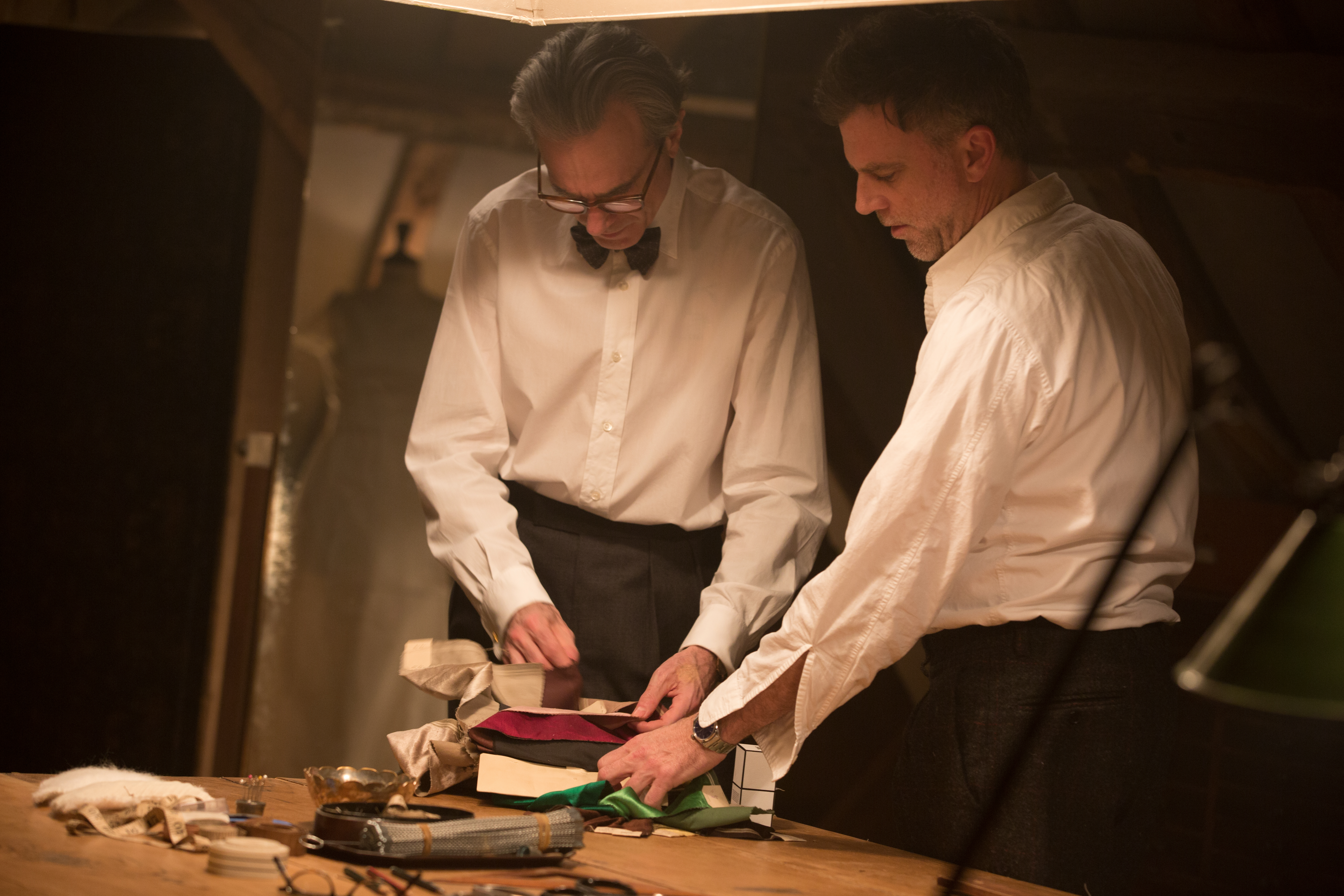 "Daniel Day Lewis and Paul Thomas Anderson on the set of ""Phantom Thread"""