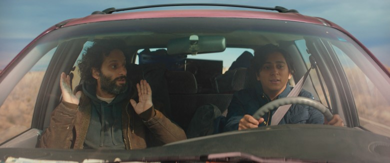 Jason Mantzoukas and Tony Revolori appear in <i>The Long Dumb Road</i> by Hannah Fidell, an official selection of the Premieres program at the 2018 Sundance Film Festival. Courtesy of Sundance Institute | photo by Long Dumb Road LLC. All photos are copyrighted and may be used by press only for the purpose of news or editorial coverage of Sundance Institute programs. Photos must be accompanied by a credit to the photographer and/or 'Courtesy of Sundance Institute.' Unauthorized use, alteration, reproduction or sale of logos and/or photos is strictly prohibited.