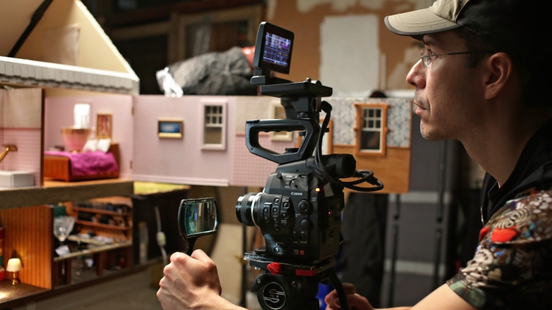 "Jonathan Bogarin shooting a scale model on ""306 Hollywood"""