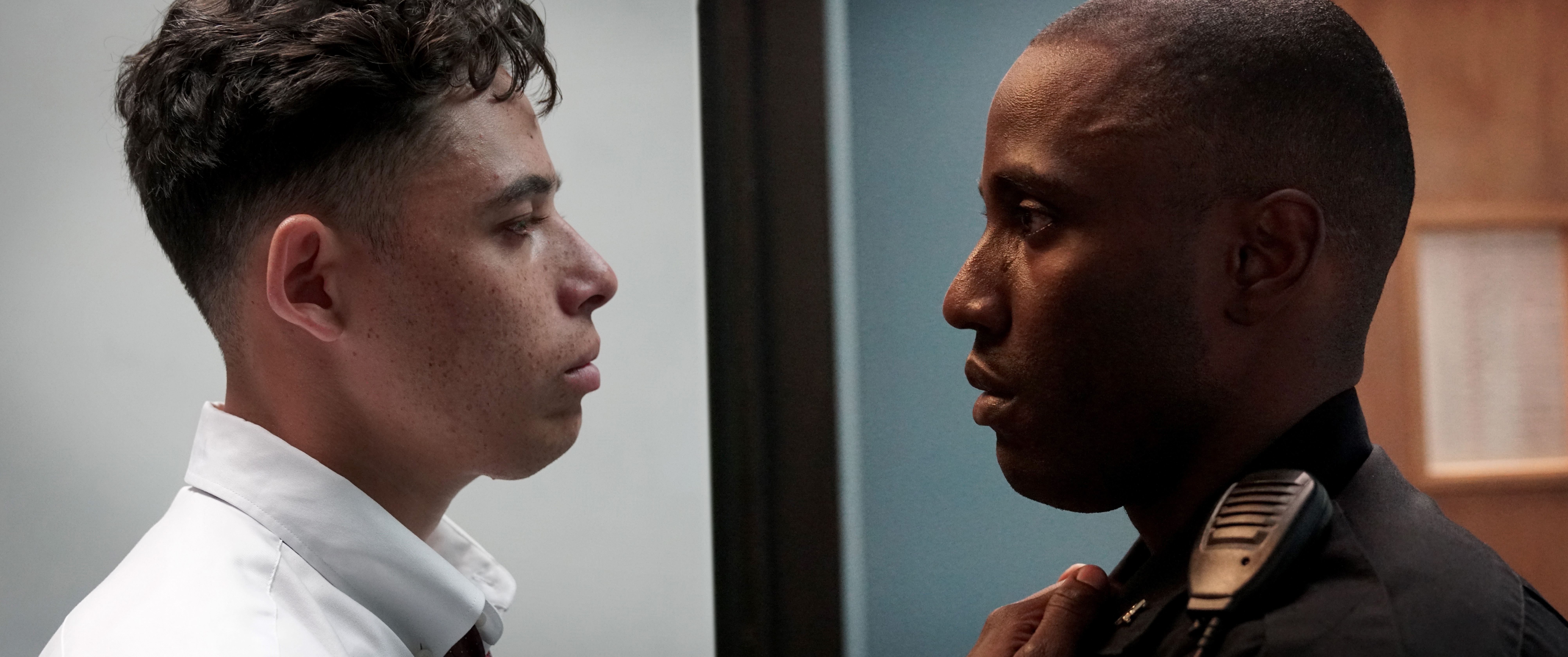 Anthony Ramos and John David Washington appear in <i>Monsters and Men</i> by Reinaldo Marcus Green, an official selection of the U.S. Dramatic Competition at the 2018 Sundance Film Festival. Courtesy of Sundance Institute | photo by Alystyre Julian. All photos are copyrighted and may be used by press only for the purpose of news or editorial coverage of Sundance Institute programs. Photos must be accompanied by a credit to the photographer and/or 'Courtesy of Sundance Institute.' Unauthorized use, alteration, reproduction or sale of logos and/or photos is strictly prohibited.