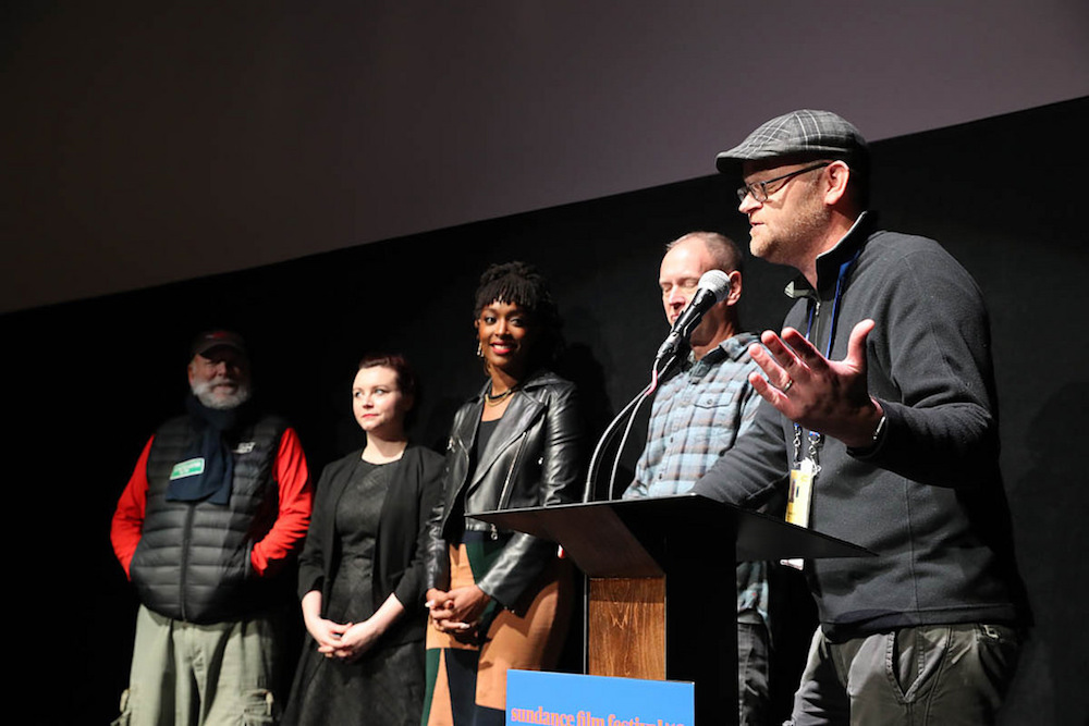 Director Rick Rosenthal, Director Kaitlin Fontana, Executive Producer Franchesca Ramsey, Director Michael Walker and Sundance Film Festival Associate Programmer Adam Montgomery at the World Premiere of Indie Episodic Program 1 at the 2018 Sundance Film Festival