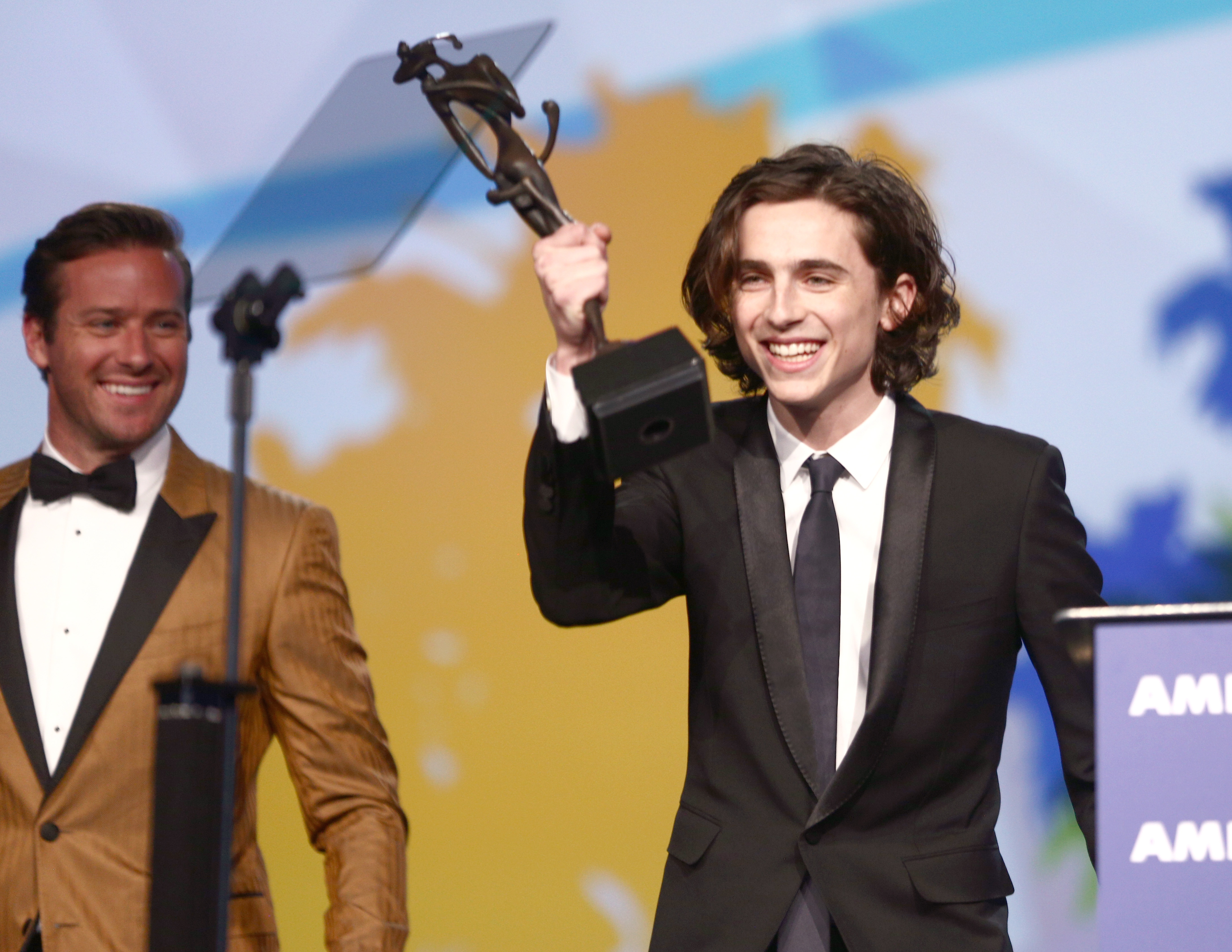 PALM SPRINGS, CA - JANUARY 02: Arnie Hammer (L) and Timothee Chalamet onstage at the 29th Annual Palm Springs International Film Festival Awards Gala at Palm Springs Convention Center on January 2, 2018 in Palm Springs, California. (Photo by Rich Fury/Getty Images for Palm Springs International Film Festival ) *** Local Caption *** Timothee Chalamet, Arnie Hammer
