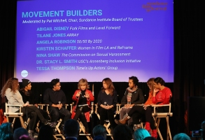 PARK CITY, UT - JANUARY 22:  (L-R) Abigal Disney, Tilane Jones, Angela Robinson, Pat Mitchell, Kirsten Schaffer, Nina Shaw, Dr. Stacy L. Smith, and Tessa Tompson speak onstage at The Sundance Institute, Refinery29, and DOVE Chocolate Present 2018 Women at Sundance Brunch at The Shop on January 22, 2018 in Park City, Utah.  (Photo by Phillip Faraone/Getty Images for Refinery29)